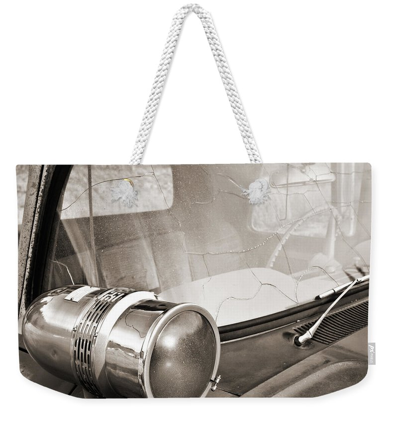 Americana Weekender Tote Bag featuring the photograph Old Police Car Siren by Marilyn Hunt