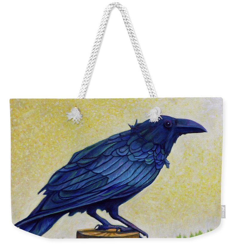 Raven Weekender Tote Bag featuring the painting Old Priest In Passion by Brian Commerford