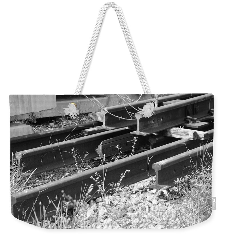 Black And White Weekender Tote Bag featuring the photograph Old Rails by Rob Hans
