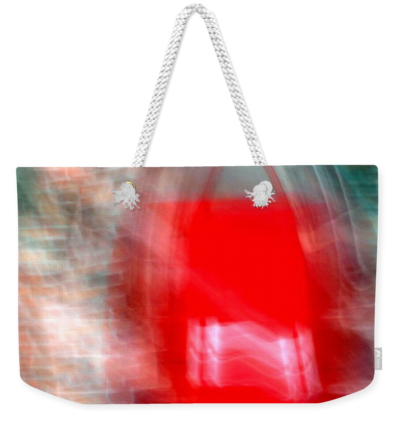 Red Weekender Tote Bag featuring the photograph Old Red Door Abstract by Anthony Jones