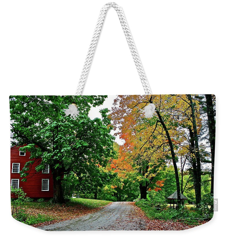 Country Weekender Tote Bag featuring the photograph Old Red House by Diana Hatcher