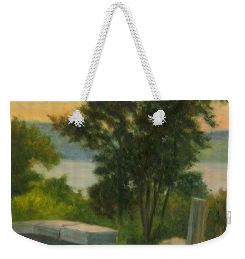 Landscape Weekender Tote Bag featuring the painting Old Rock Wall by Phyllis Tarlow