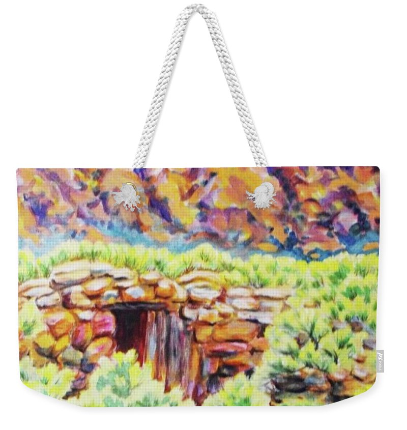 Old Root Cellar In Desert Valley Weekender Tote Bag featuring the painting Old Root Cellar by Annie Gibbons