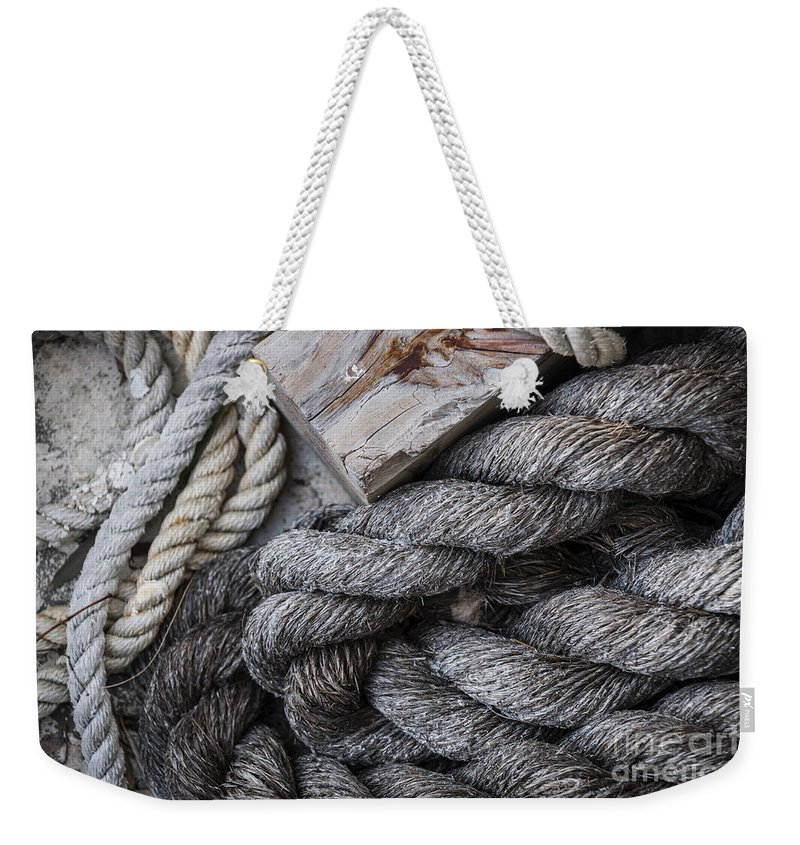 Ropes Weekender Tote Bag featuring the photograph Old Ropes On Dock by Elena Elisseeva