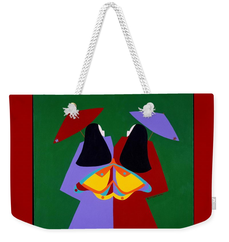 Asian Weekender Tote Bag featuring the painting Old Same by Synthia SAINT JAMES