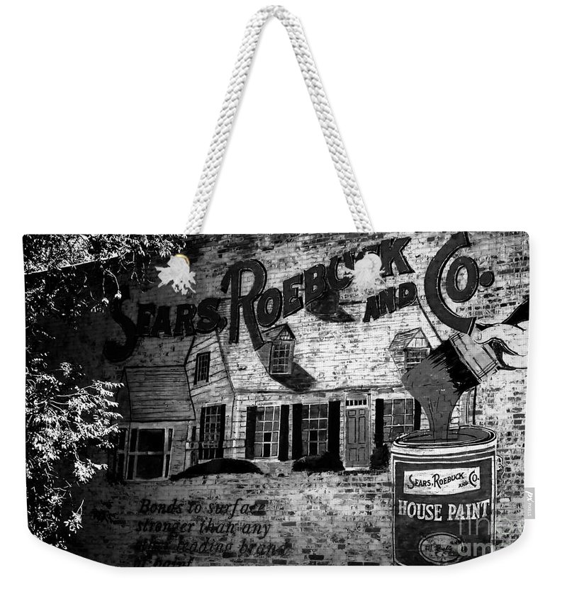 Sears Roebuck And Company Weekender Tote Bag featuring the photograph Old Sears Paint Sign by David Lee Thompson