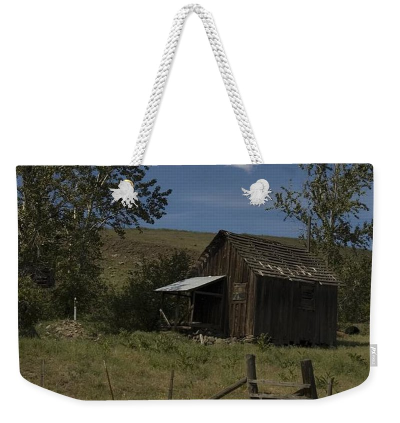 Old Shack Weekender Tote Bag featuring the photograph Old Shack by Sara Stevenson