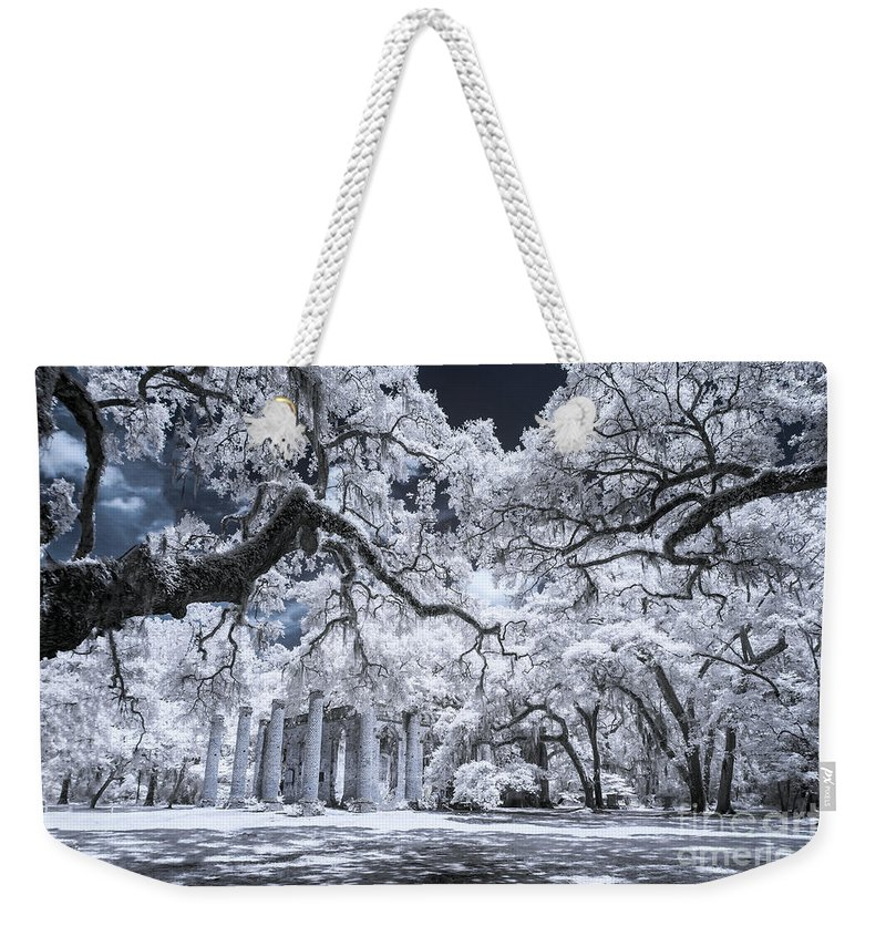 Beaufort Weekender Tote Bag featuring the photograph Old Sheldon Church In Infrared by Charles Hite