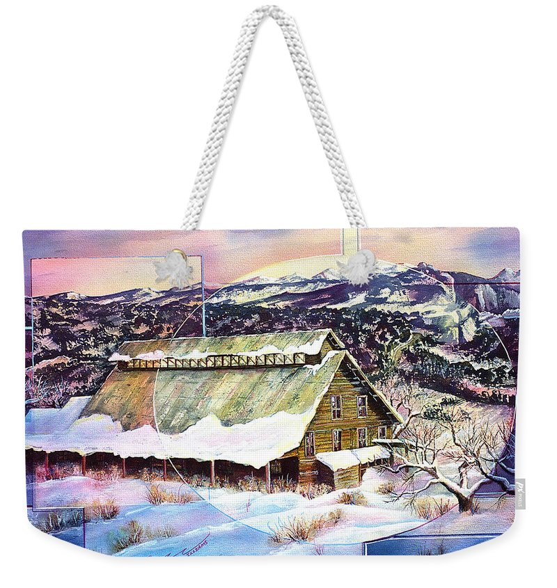 Barn Weekender Tote Bag featuring the painting Old Stelty Packing Shed by Connie Williams