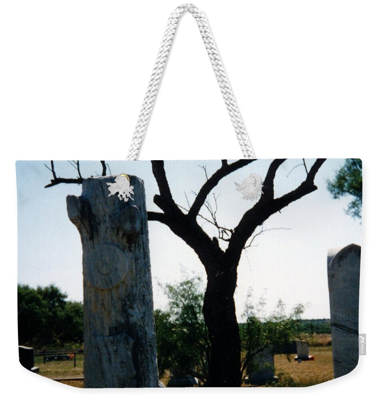 Stones Trees Old Headstones Weekender Tote Bag featuring the photograph Old Stones In Old Cementery by Cindy New