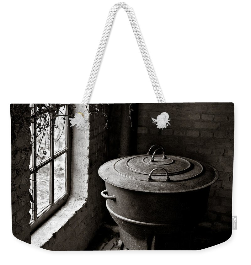 Old Weekender Tote Bag featuring the photograph Old Stove by Dave Bowman
