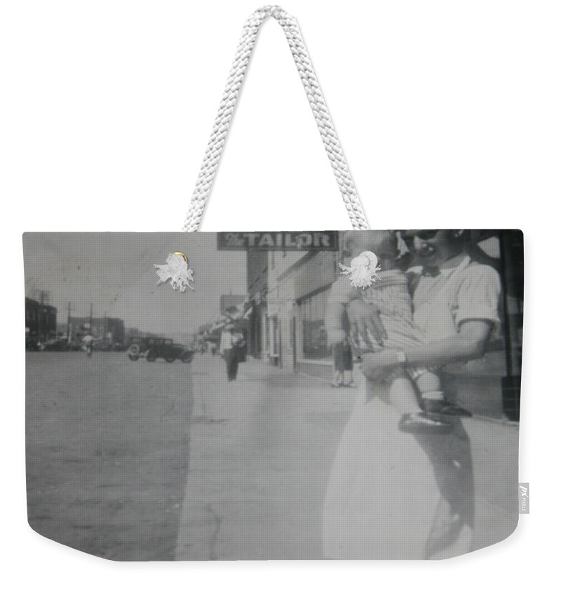 Old Street 1950 Road Store Black And White Photographs Long Ago Classic Weekender Tote Bag featuring the photograph Old Street by Andrea Lawrence
