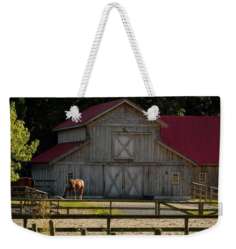 Old Style Horse Barn Weekender Tote Bag featuring the photograph Old-style Horse Barn by Jordan Blackstone
