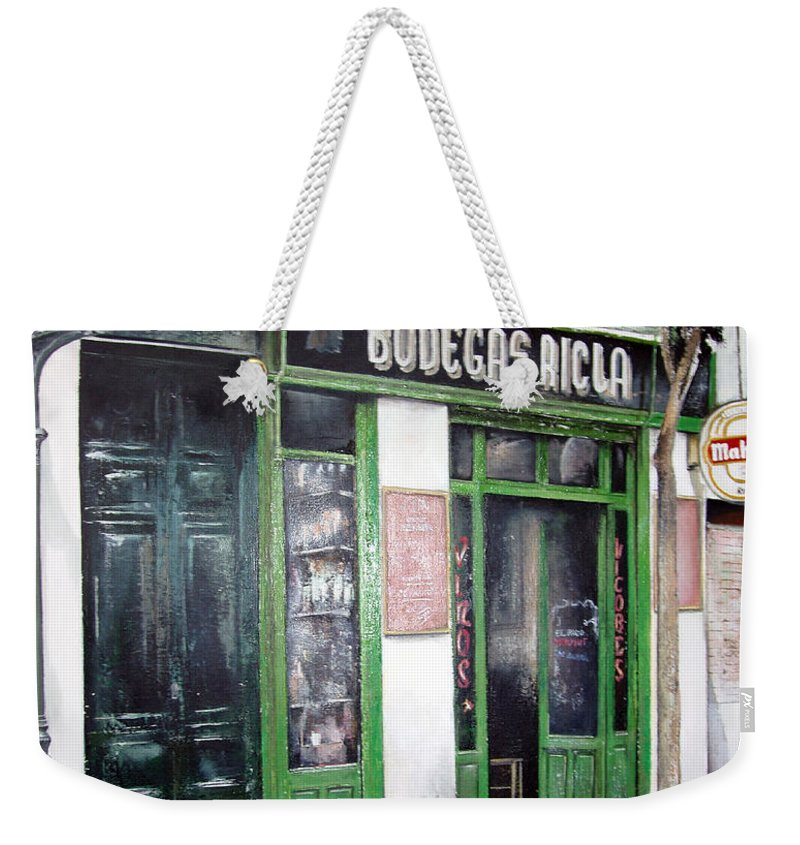 Bodegas Weekender Tote Bag featuring the painting Old Tavern-madrid by Tomas Castano