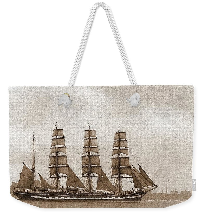 Tall Ship Weekender Tote Bag featuring the photograph Old Time Schooner by Tracey Vivar
