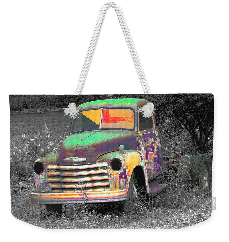 Car Weekender Tote Bag featuring the digital art Old Timer by Robert Meanor