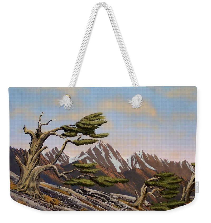 Mountains Weekender Tote Bag featuring the painting Old Timers by Frank Wilson