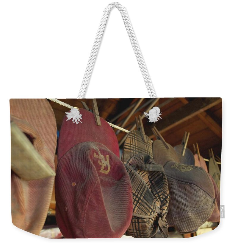 Garage Weekender Tote Bag featuring the photograph Old Timer's Garage by Gwyn Newcombe