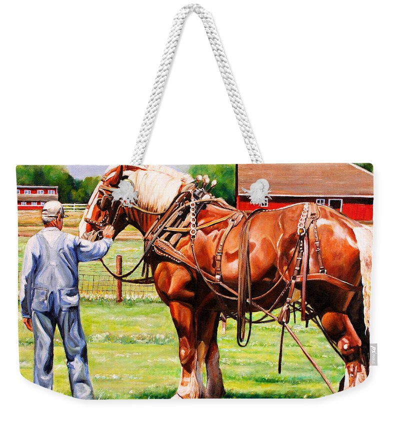 Belgian Weekender Tote Bag featuring the painting Old Timers by Toni Grote