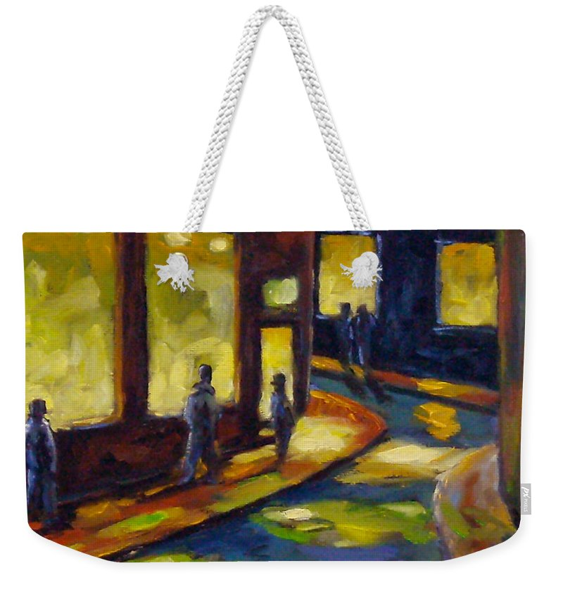 Urban; Scene; People; Night; Street; City; Scape; Love; Weekender Tote Bag featuring the painting Old Town At Night by Richard T Pranke