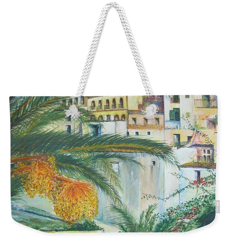 Ibiza Old Town Weekender Tote Bag featuring the painting Old Town Ibiza by Lizzy Forrester