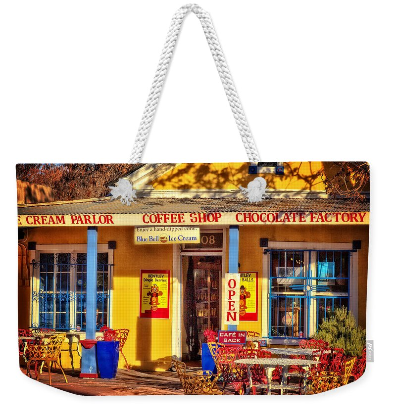 Old Town Albuquerque Weekender Tote Bag featuring the photograph Old Town Ice Cream Parlor by Diana Powell