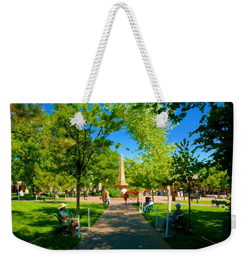 Santa Fe New Mexico Weekender Tote Bag featuring the painting Old Town Square Santa Fe by David Lee Thompson