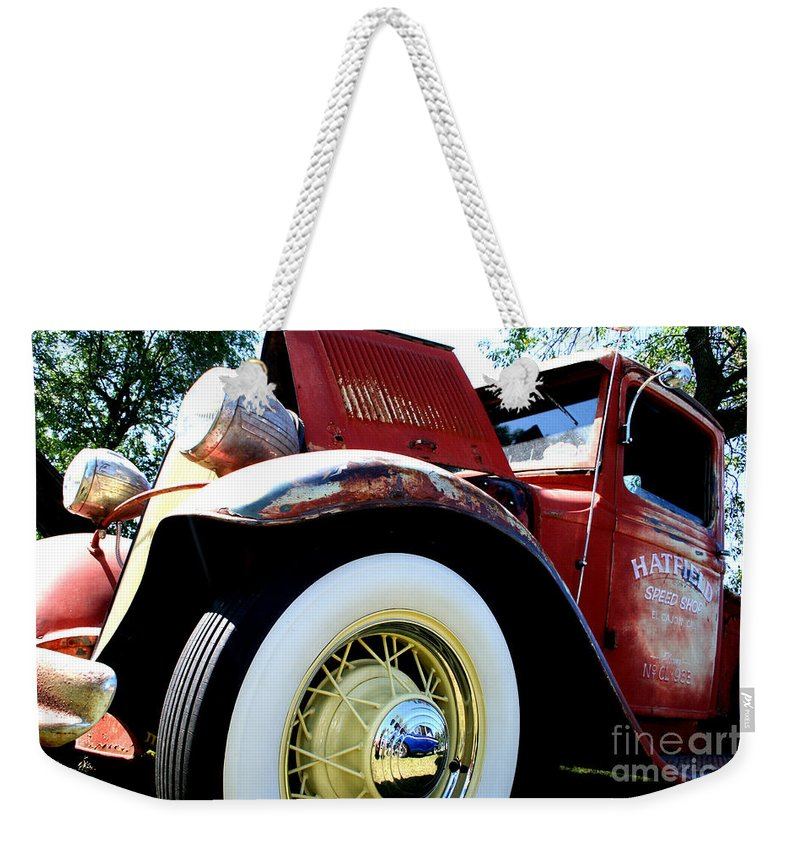 Fish Day Car Show 2010 Weekender Tote Bag featuring the photograph Old Truck by Jamie Lynn