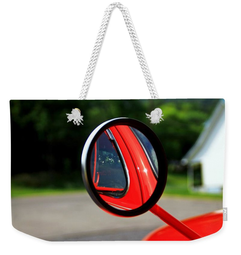 Cars Weekender Tote Bag featuring the photograph Old Truck Mirror Reflection by Karl Rose