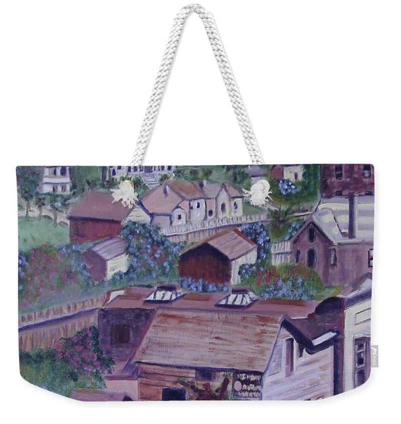 Ventura Weekender Tote Bag featuring the painting Old Ventura by Laurie Morgan