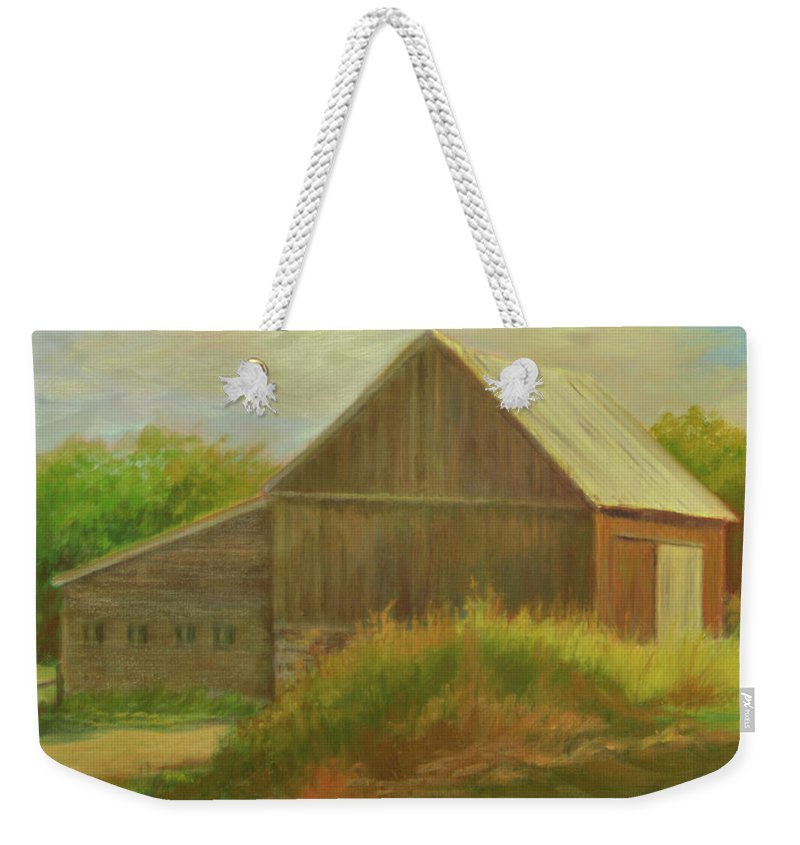 Landscape Weekender Tote Bag featuring the painting Old Vermont Barn by Phyllis Tarlow