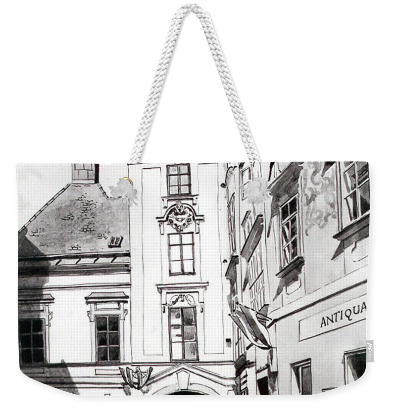 Vienna Weekender Tote Bag featuring the painting Old Viennese Courtyard by Johannes Margreiter