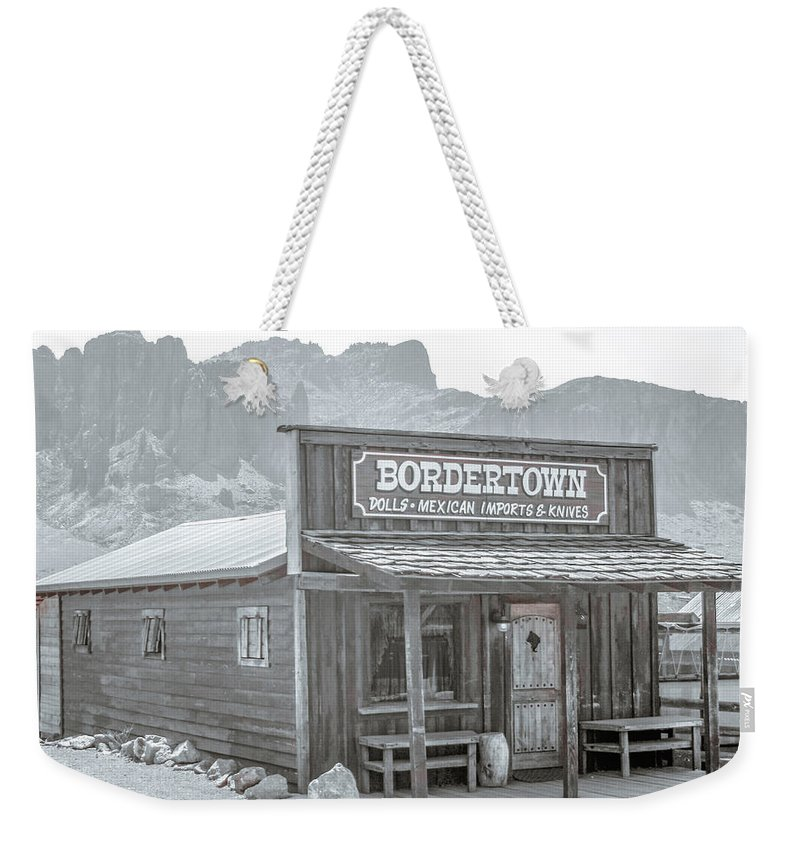 Goldfield Weekender Tote Bag featuring the photograph Old West With Superstition Mountains by Darrell Foster