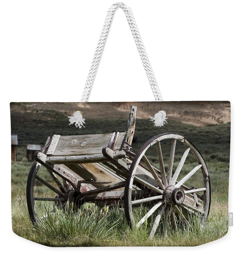 Antique Weekender Tote Bag featuring the photograph Old Wheels by Kelley King