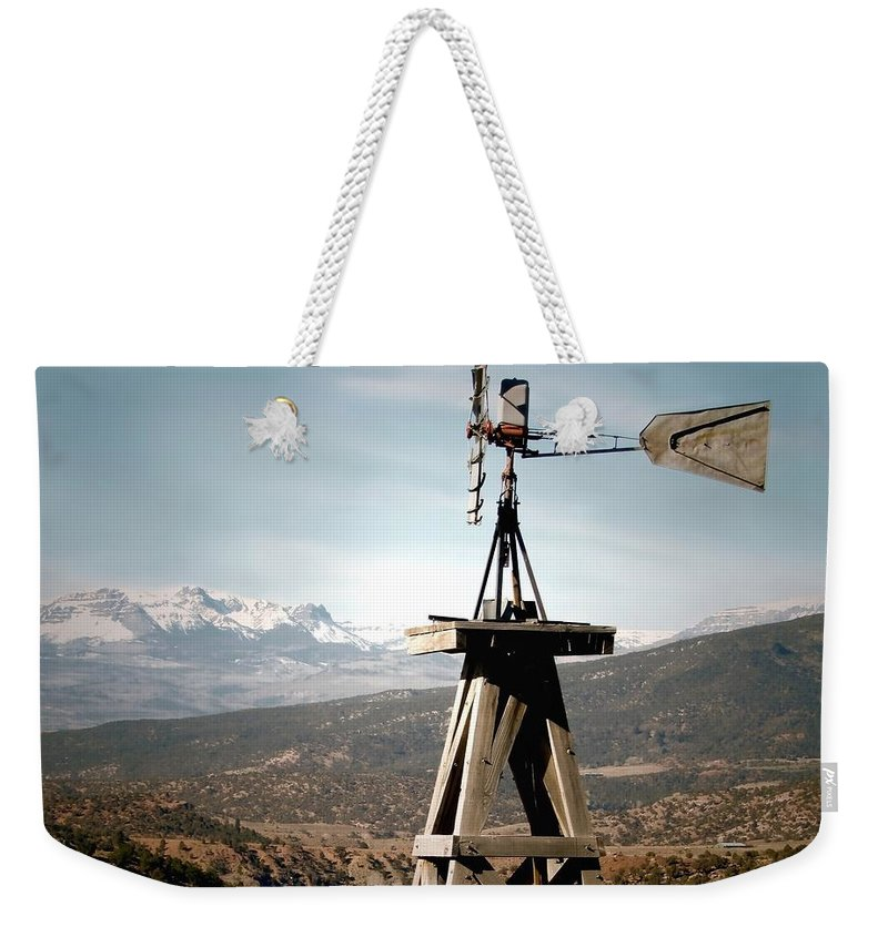 Antique Windmill Weekender Tote Bag featuring the photograph Old Windmill by LeAnne Perry
