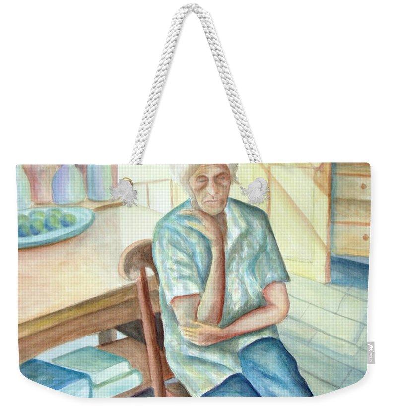 Woman Weekender Tote Bag featuring the painting Old Woman by Nancy Mueller
