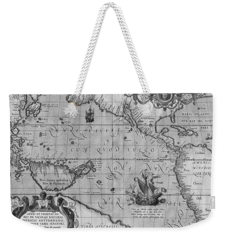 Old world map print from 1589 black and white weekender tote bag old world map weekender tote bag featuring the drawing old world map print from 1589 gumiabroncs