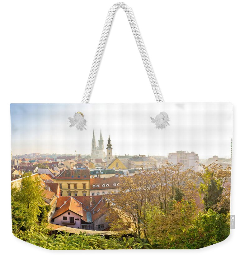 Zagreb Weekender Tote Bag featuring the photograph Old Zagreb Panorama In Morning Fog by Brch Photography