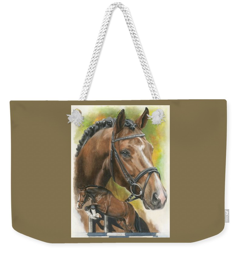 Hunter Jumper Weekender Tote Bag featuring the mixed media Oldenberg by Barbara Keith