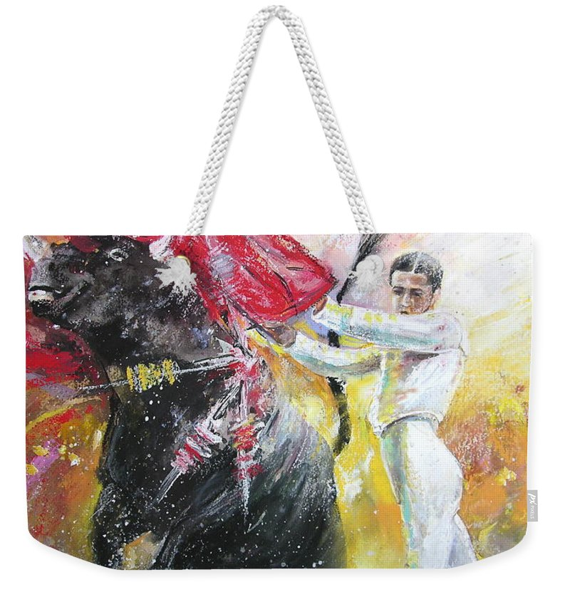Animals Weekender Tote Bag featuring the painting Ole by Miki De Goodaboom