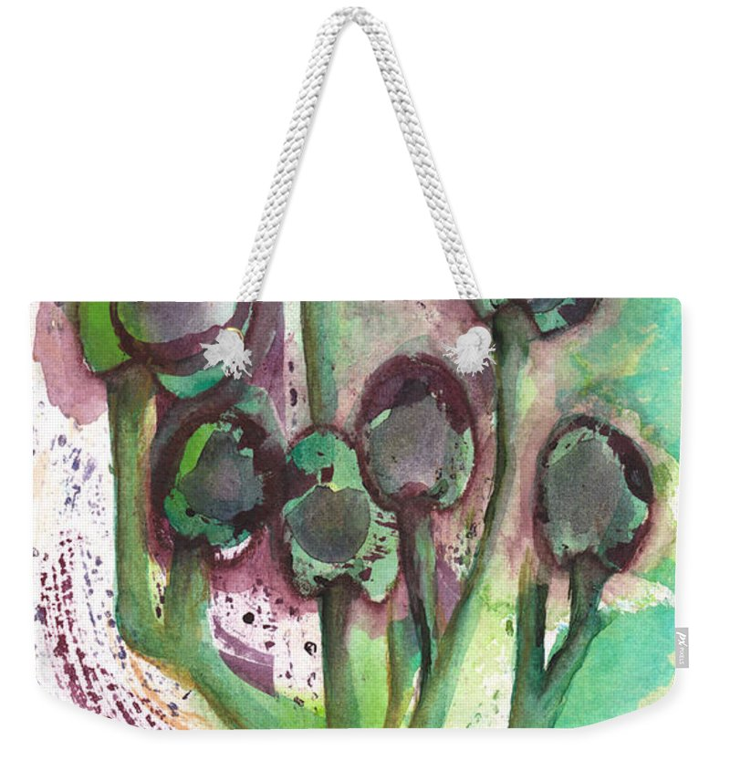 Olives Weekender Tote Bag featuring the mixed media Olive Branches by Paulette Boudreau