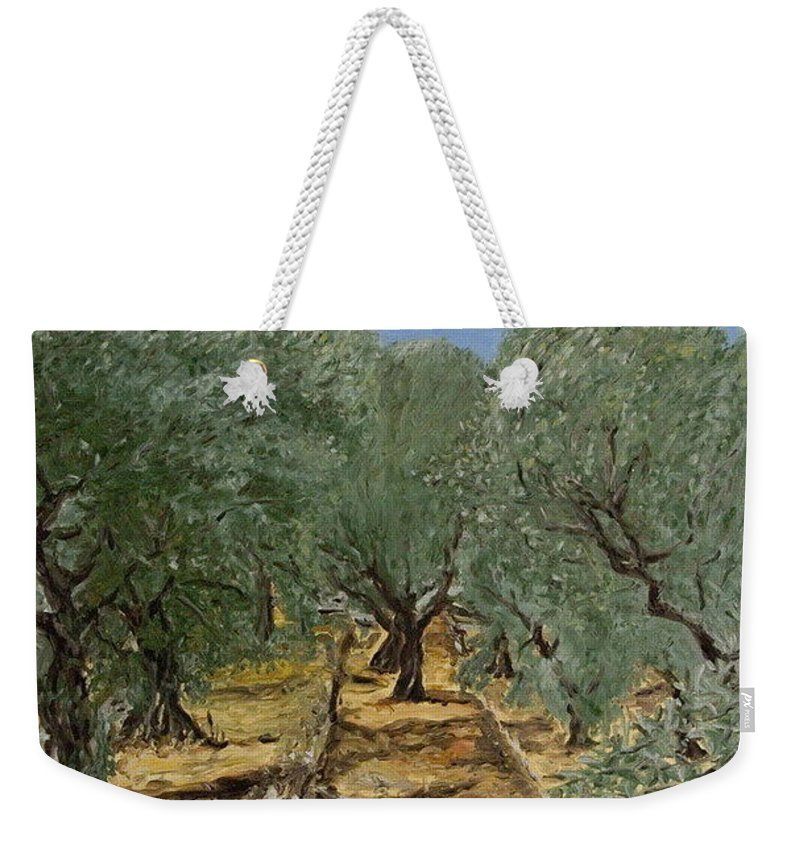 Landscape Weekender Tote Bag featuring the painting Olive by Pablo de Choros