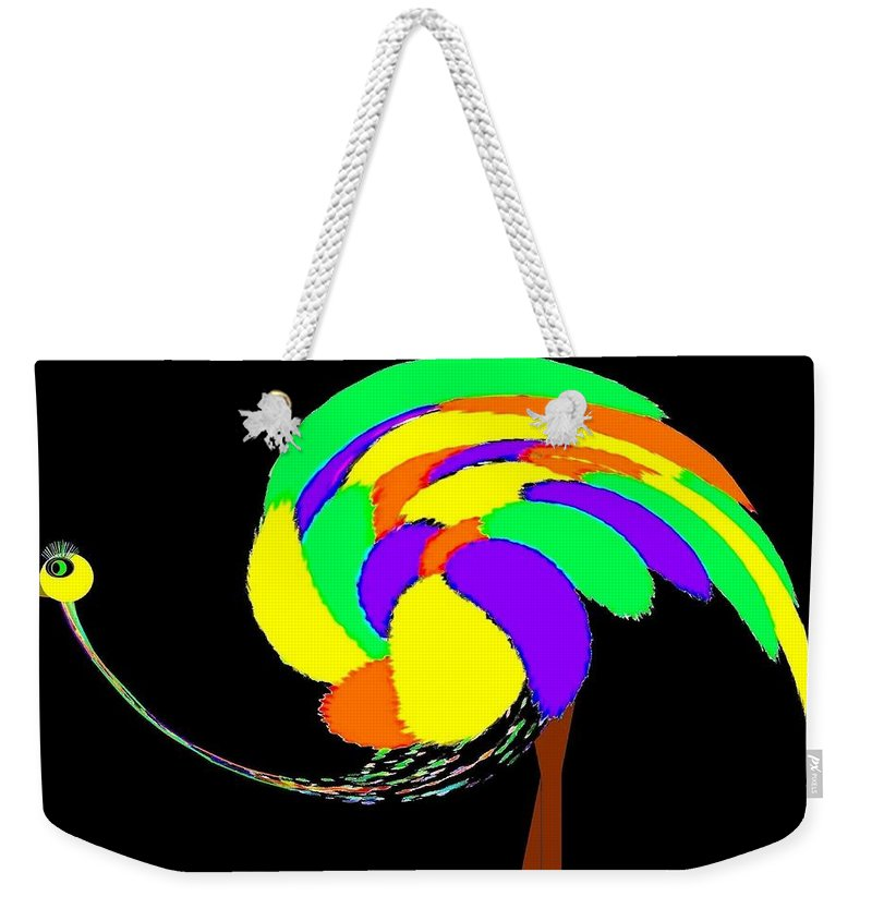 Abstract Weekender Tote Bag featuring the digital art Olive The Ostrich by Will Borden