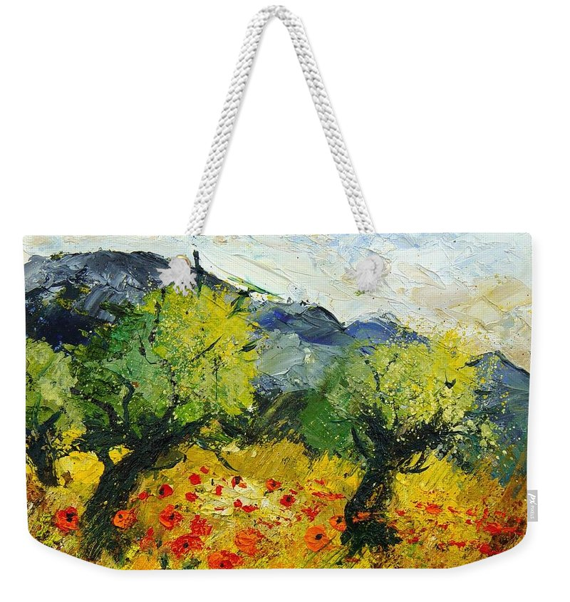Flowers Weekender Tote Bag featuring the painting Olive Trees And Poppies by Pol Ledent