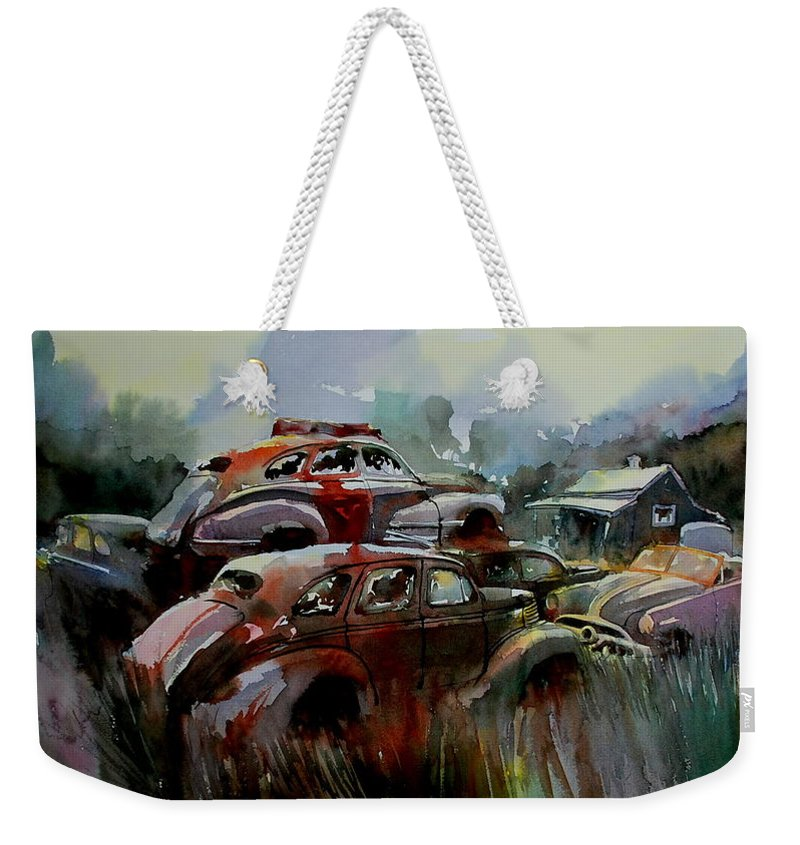 Chevies Weekender Tote Bag featuring the painting Oliver Stacks by Ron Morrison