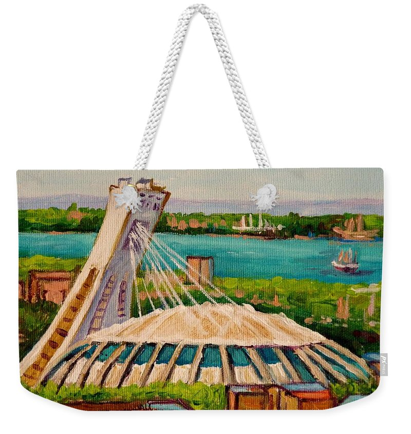 The Olympic Stadium Weekender Tote Bag featuring the painting Olympic Stadium Montreal by Carole Spandau