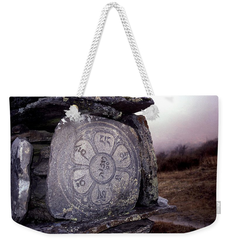 Langtang Weekender Tote Bag featuring the photograph Om Mani Padme Hum by Patrick Klauss