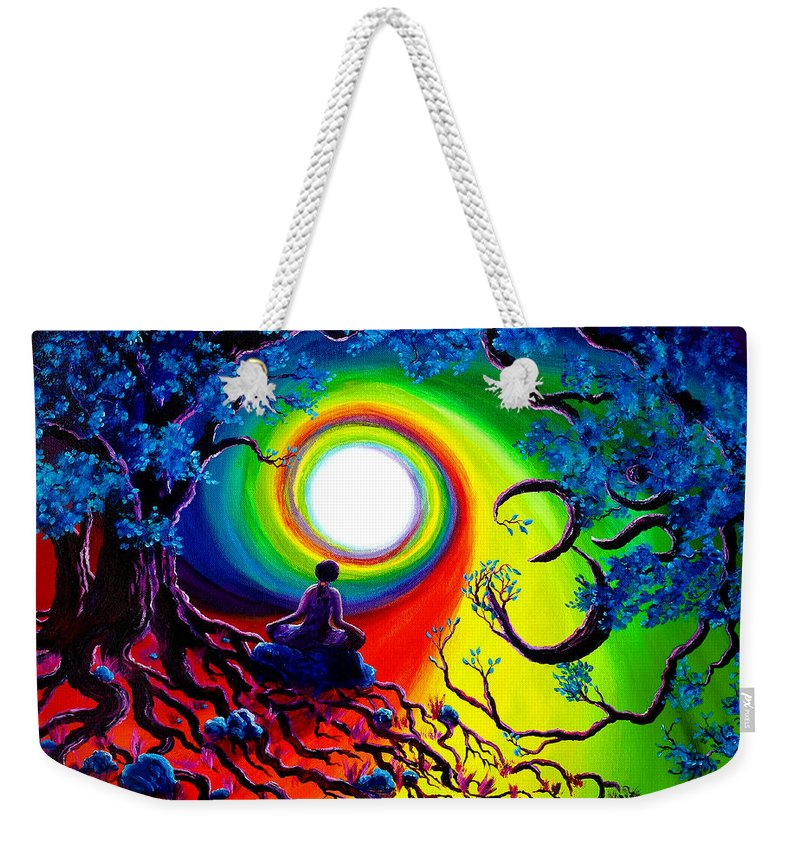 Om Weekender Tote Bag featuring the painting Om Tree Of Life Meditation by Laura Iverson
