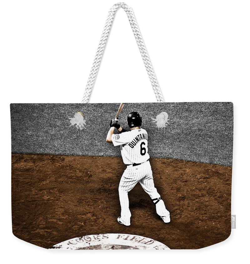 Baseball Weekender Tote Bag featuring the photograph Omar Quintanilla Pro Baseball Player by Marilyn Hunt