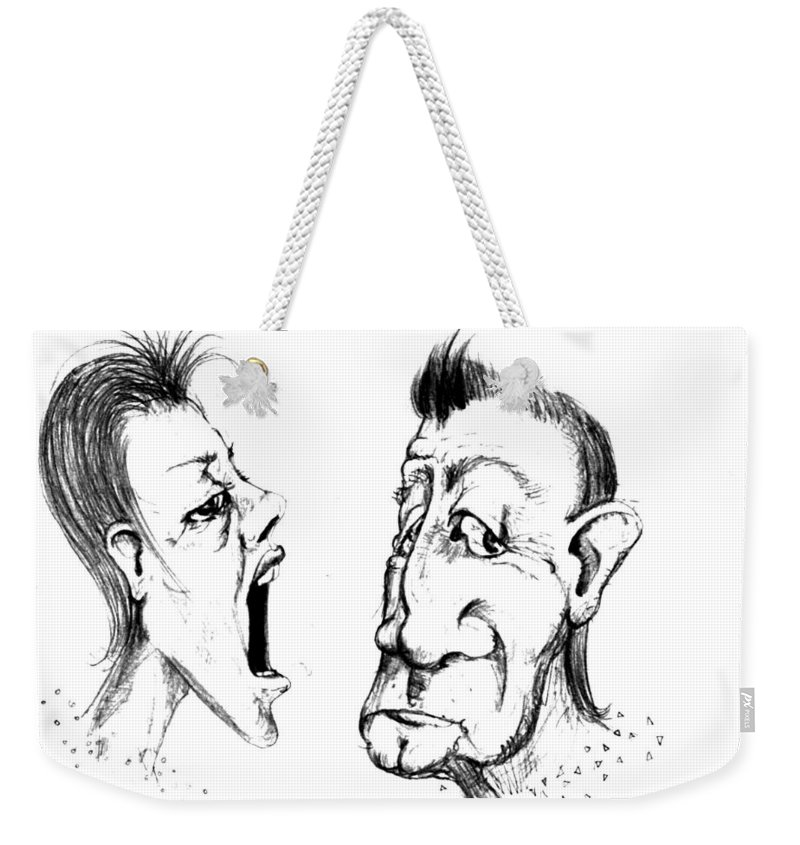 Woman Weekender Tote Bag featuring the drawing Omfem by Line Gagne
